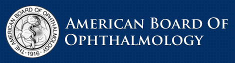 Logo for American Board of Ophthalmology to which Melanie Ho Erb M.D. is a member