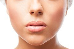 woman nose and mouth closeup